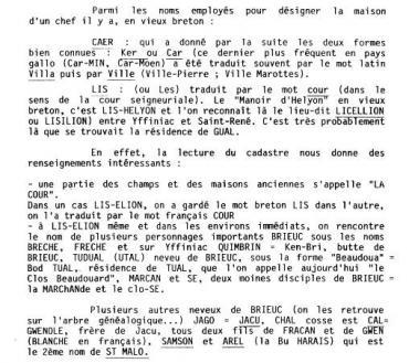 Extrait de l'ouvrage sur la toponymie des noms de lieux à Hillion par l'abbé Martin